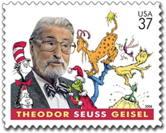 image is a 2004 stamp featuring Dr. Seuss (Theodor Geisel) and his creations: Cat in the Hat, and the Grinch and others